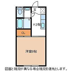 長野県諏訪市清水2丁目の賃貸アパートの間取り