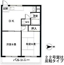 マンション細井2階Fの間取り画像