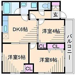 神奈川県横浜市都筑区南山田町の賃貸マンションの間取り