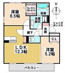 愛知県名古屋市瑞穂区春山町の賃貸アパートの間取り