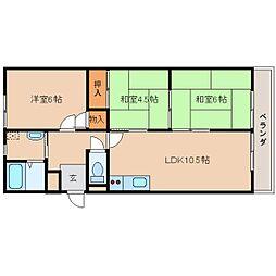 奈良県奈良市西大寺新町2丁目の賃貸マンションの間取り
