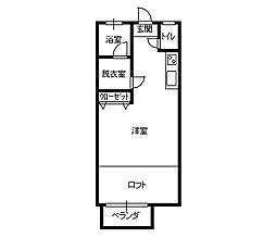 ニュー栃木ハイツ8号棟 1階ワンルームの間取り