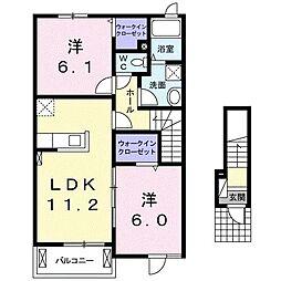 上石川アパートB[0202号室]の間取り