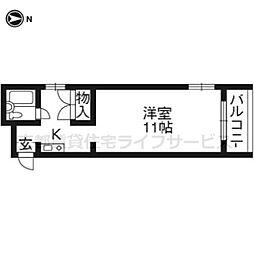 第二京都メゾンベルジュ西京極[203号室]の間取り
