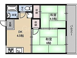 大阪府大阪市鶴見区諸口4丁目の賃貸アパートの間取り