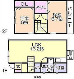 Apartment-Rabo[C号室号室]の間取り