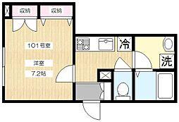 Maison Doubli Vinght 1階1Kの間取り