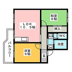 LAbri OVO (ラブリー オボ)[3階]の間取り