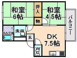 兵庫県伊丹市口酒井1丁目の賃貸アパートの間取り