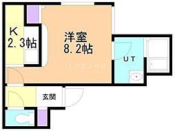 仮)豊平8-8MS 4階1Kの間取り