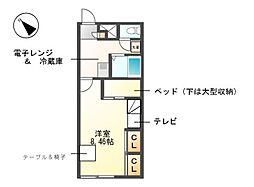 愛知県名古屋市天白区荒池2丁目の賃貸アパートの間取り