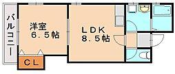 福岡県福岡市東区下原1丁目の賃貸アパートの間取り