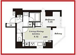 オープンレジデンシア上野松が谷 3階1LDKの間取り