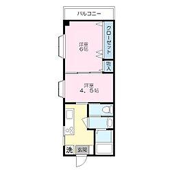 マリナーズ・プラザ東蒔田[502号室]の間取り