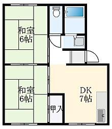 ファミーユ北野田 2階2DKの間取り