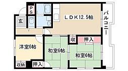 愛知県名古屋市天白区向が丘1の賃貸マンションの間取り