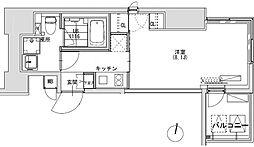 グランディオール広尾テラス 12階1Kの間取り