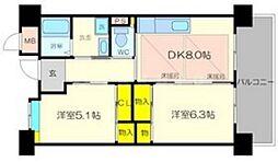 OPH新千里南町(2棟) 3階2DKの間取り