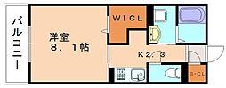 JR篠栗線 門松駅 徒歩3分の賃貸アパート 1階1Kの間取り