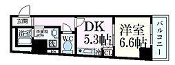 阪急神戸本線 王子公園駅 徒歩1分の賃貸マンション 5階1DKの間取り
