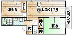 福岡県遠賀郡水巻町二東3丁目の賃貸アパートの間取り