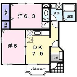 千葉県松戸市五香7丁目の賃貸アパートの間取り