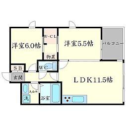 Casa Bonita 4階2LDKの間取り
