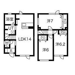 北海道札幌市東区東雁来十一条4丁目の賃貸アパートの間取り