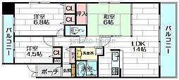 リーガル江坂[3階]の間取り
