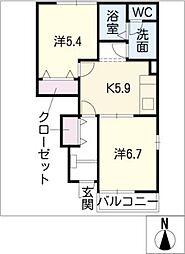 プリムラA棟[1階]の間取り