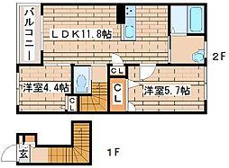 レジデンス永尾[C202号室]の間取り