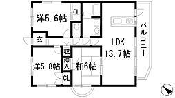 兵庫県宝塚市口谷東1丁目の賃貸マンションの間取り