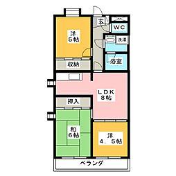 ヒルサイド植田[2階]の間取り