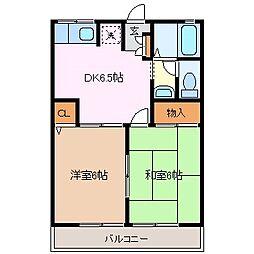 長野県松本市笹部3丁目の賃貸アパートの間取り