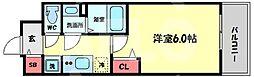 プレサンス天神橋六丁目ヴォワール 10階1Kの間取り
