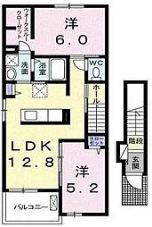 岡山県岡山市南区豊成3丁目の賃貸アパートの間取り