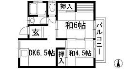 兵庫県宝塚市旭町1丁目の賃貸アパートの間取り