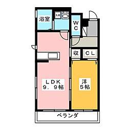 OKUEII 3階1LDKの間取り