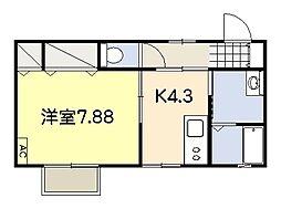 ハイツルーエI[2階]の間取り