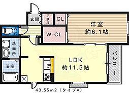 NT Maison 2階1LDKの間取り