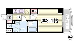 JR東海道・山陽本線 灘駅 徒歩7分の賃貸マンション 6階1Kの間取り
