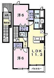 広島県福山市引野町北3丁目の賃貸アパートの間取り