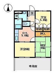 静岡県三島市平田の賃貸アパートの間取り