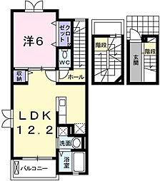 兵庫県姫路市土山4丁目の賃貸アパートの間取り