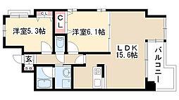 愛知県名古屋市千種区田代本通2丁目の賃貸マンションの間取り