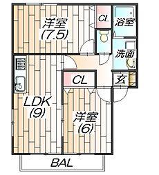兵庫県神戸市北区上津台4丁目の賃貸アパートの間取り