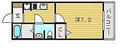 大阪府茨木市安威2丁目の賃貸アパートの間取り