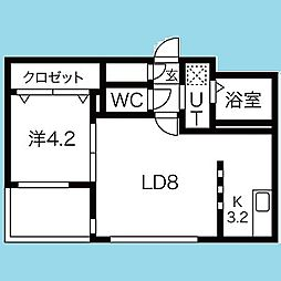 札幌市営南北線 北12条駅 徒歩5分の賃貸マンション 1階1LDKの間取り