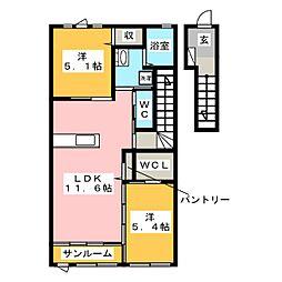 福岡県大野城市大城4丁目の賃貸アパートの間取り