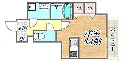 ブランTAT西宮江上町 5階ワンルームの間取り